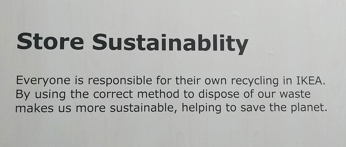 sustainability sign at IKEA